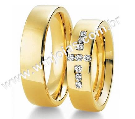 Alianca de noivado e casamento 18k